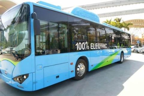 BYD electric busses being charged in Alexandria, Egypt
